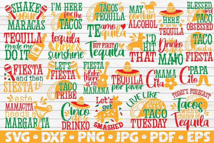 Cinco de Mayo Quotes Bundle SVG | 25 designs