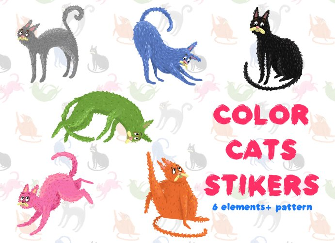 Color cats stikers+ Pattern example image 1