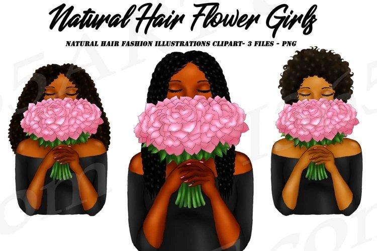 Black Women Holding Pink Flower Bouquet Clipart PNG