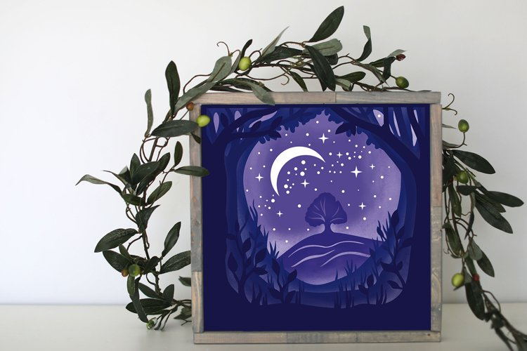 Forest Night Light Box - 5 layers example 1