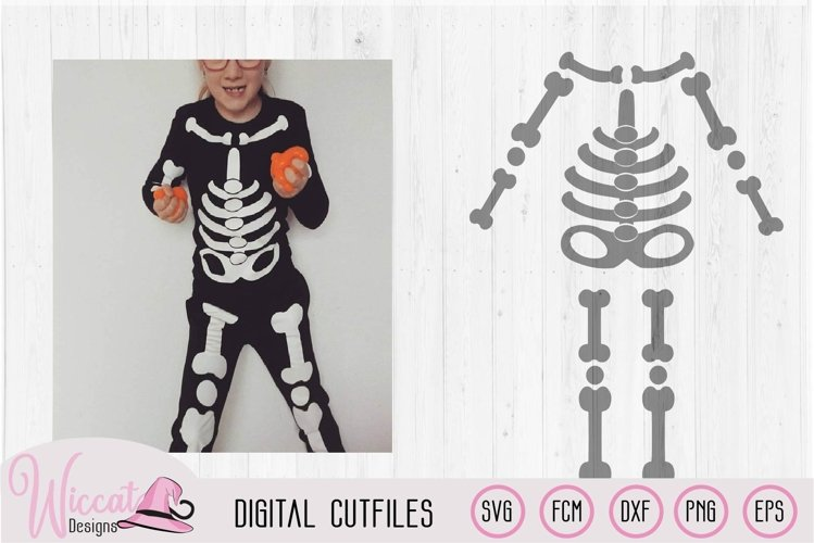 Halloween Kids skeleton costume cut file