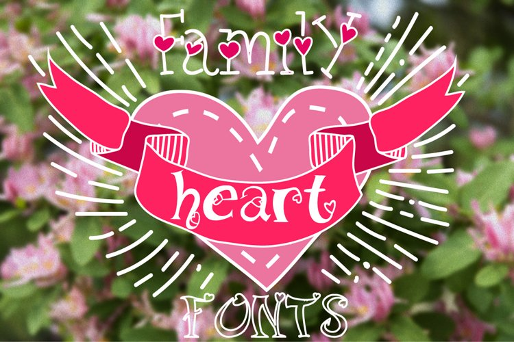 Family fonts with hearts example image 1