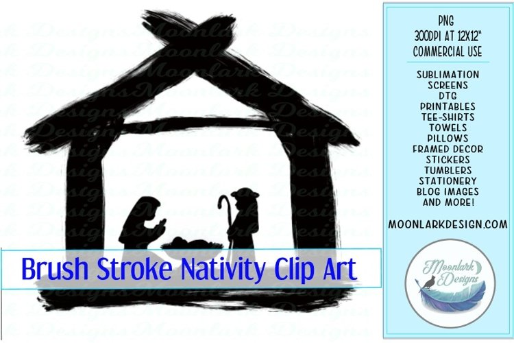 Simple brush stroke Christmas Nativity watercolor paint example image 1