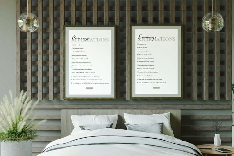 Morning & Evening Affirmations Print Frame not included example image 1