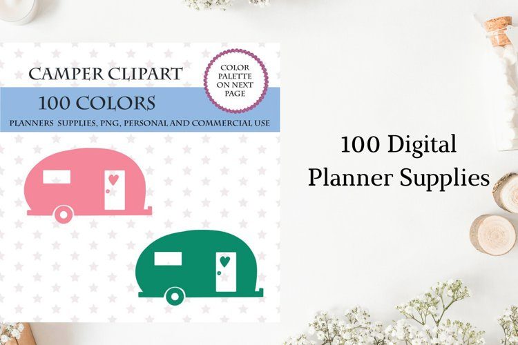 Camper Clipart, Camping Planner Sticker, Outdoor Camping