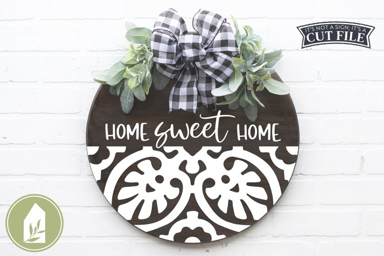 Home Sweet Home SVG Files, Round Tile Sign SVG example image 1