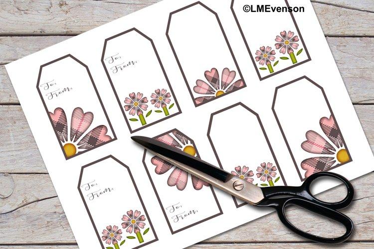Gift Tags, Printable Gift Tags, Plaid Daisy Gift Tags Set 2