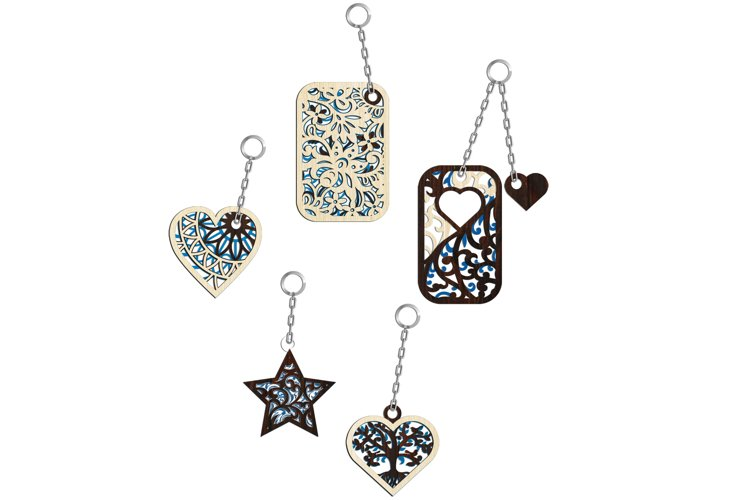 Multilayer Cut File 5 Keychains Bundle example 2