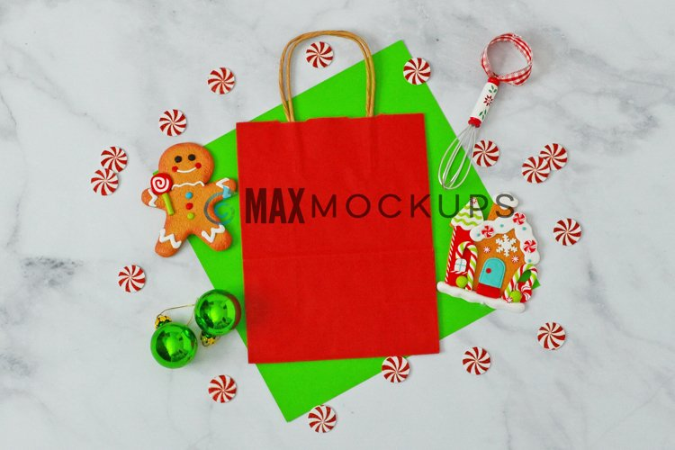 Red gift bag Mockup, Christmas gingerbread, styled photo example image 1