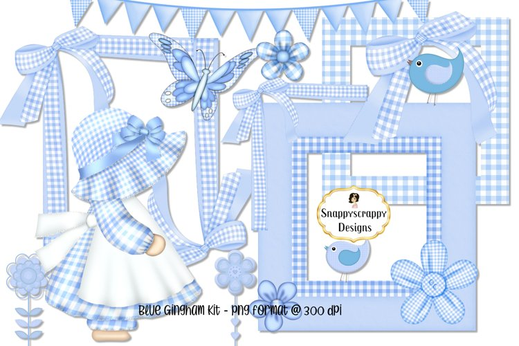 Blue Gingham Scrap Kit example image 1