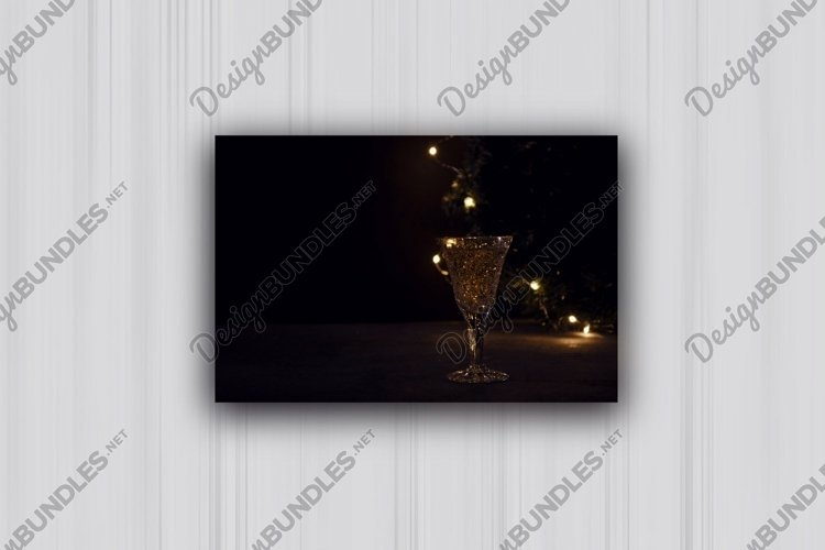 3 photos of Festive still life with wine glass and lights