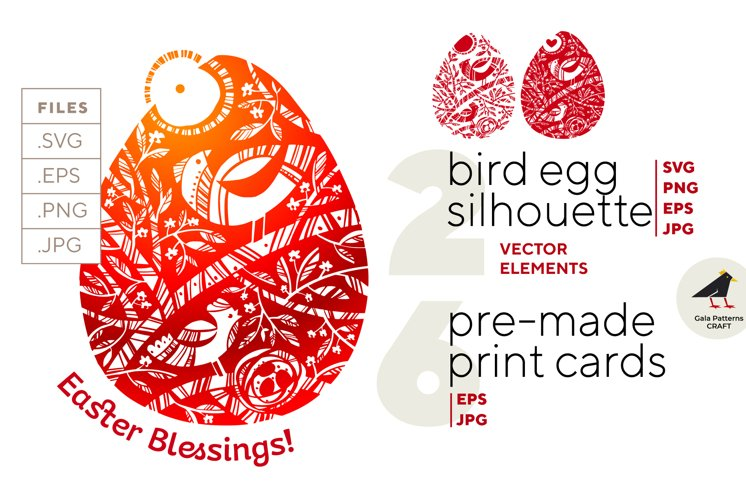 Easter Egg with spring Bids nesting - vector silhouette