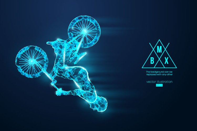 Silhouettes of a BMX rider example image 1