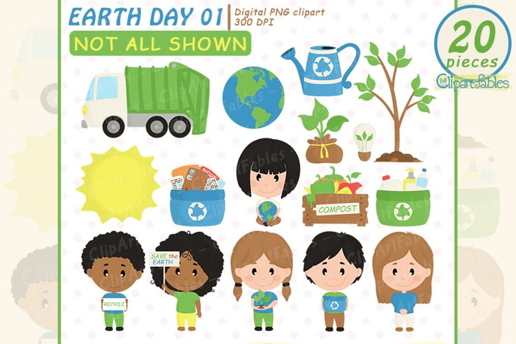 Cute EARTH DAY clipart, Recycling, Save the Earth clip art