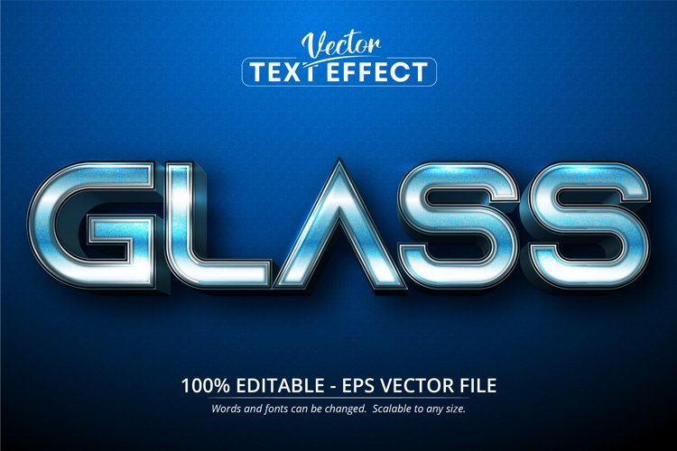 Glass text, blue gradient color style editable text effect example image 1