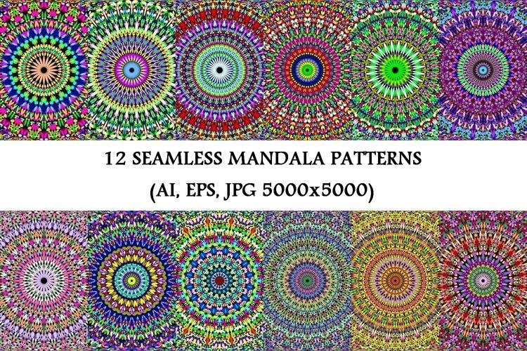 12 Seamless Gravel Mandala Patterns - AI, EPS, JPG 5000x5000