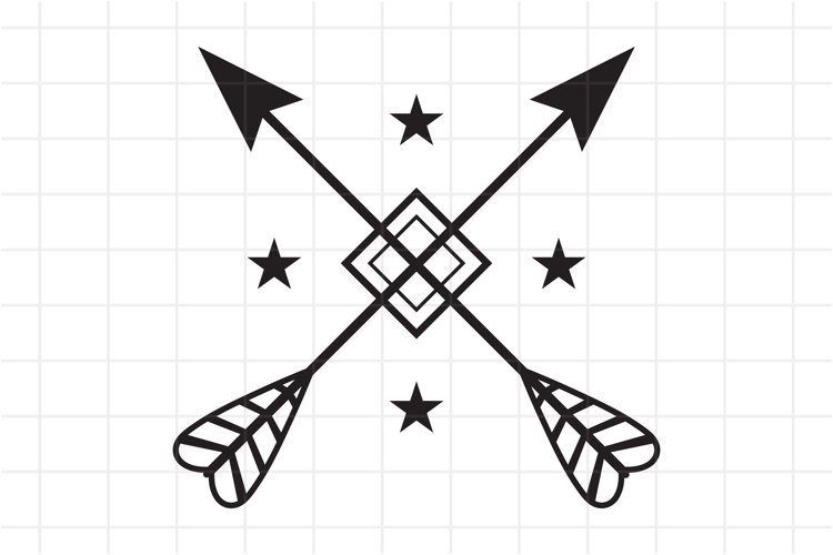 Crossed Arrows SVG, cutting file. example image 1