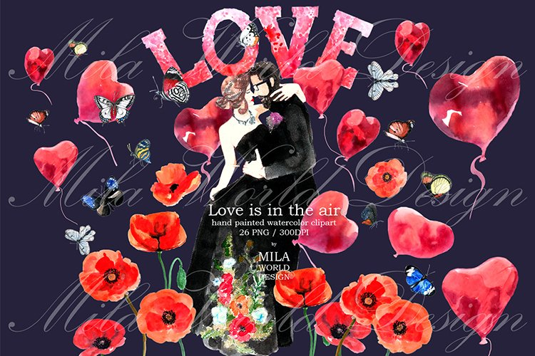 Love is in the air Watercolor Clip Art example image 1