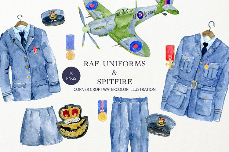 Watercolor Illustration of RAF Uniforms and Spitfire Fighter example image 1