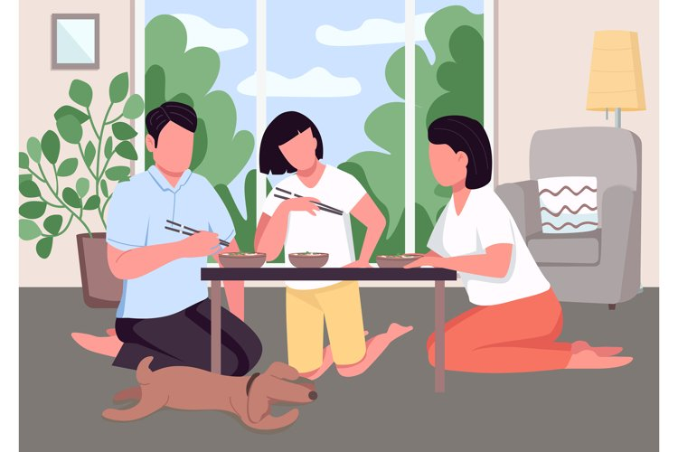 Asian family dinner flat color vector illustration example image 1