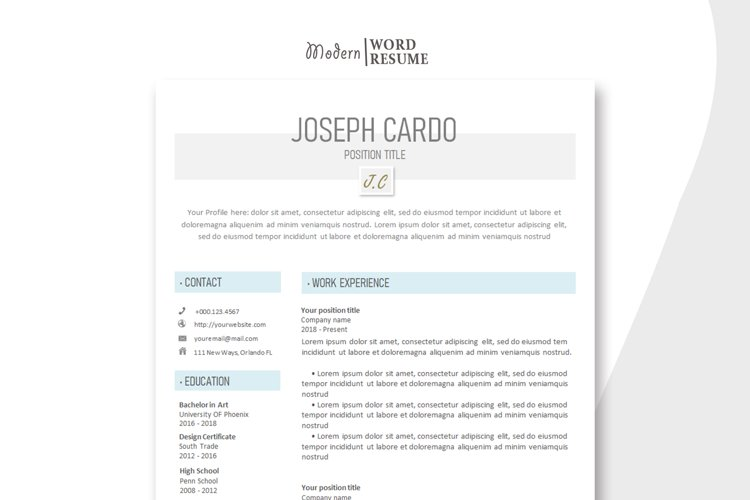 One Resume Template   Cover Letter   Reference Page example image 1