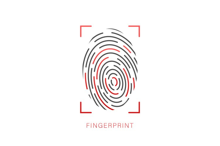Fingerprint icon. Cyber security concept. Digital security example image 1