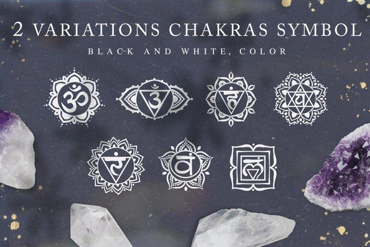 Chakra sybmols. Mandala set, Yoga, boho style.2 variatio example image 1