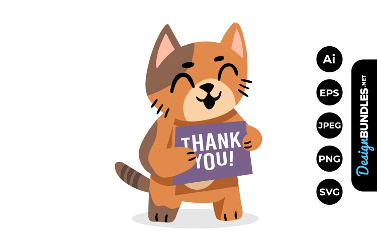 Cat Thank You Clipart example image 1