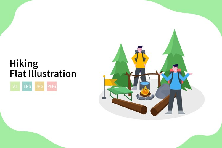 Hiking Vector Illustration In Flat Modern Style example image 1