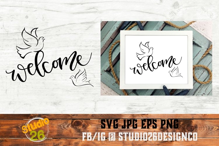 Welcome with Doves - SVG PNG EPS example image 1