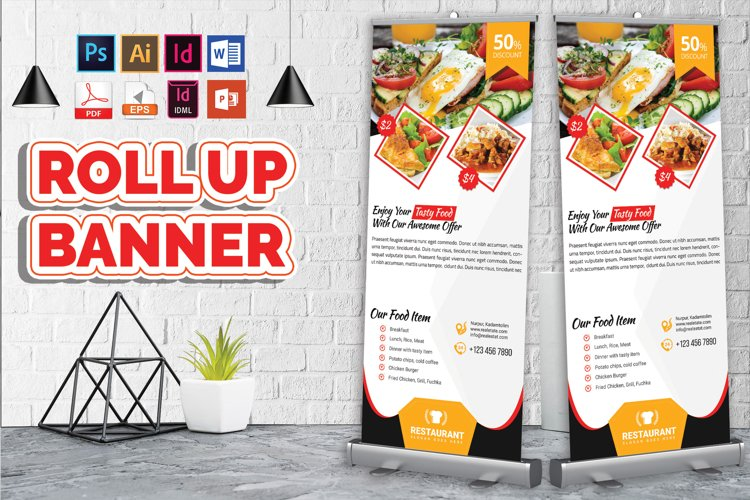 Restaurant Roll Up Banner Vol-02 example image 1