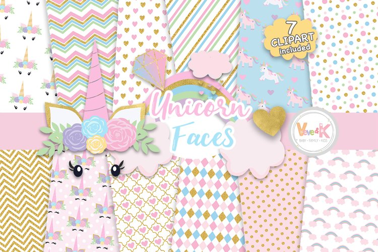 Unicorn Clipart, Unicorn Faces Clipart, Unicorn Digital Papers
