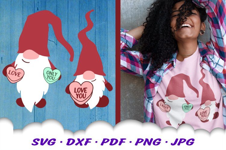 Valentines Gnomes Candy Hearts SVG DXF Cut Files example image 1