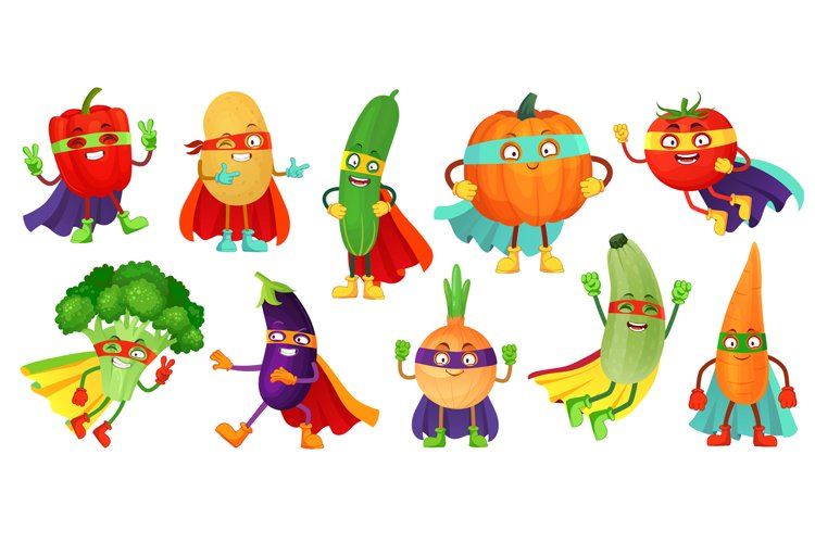 Superhero vegetables. Super cucumber, hero mask on pumpkin a example image 1