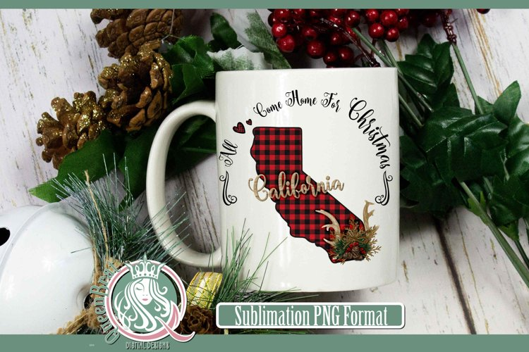 Sublimation | California Plaid Christmas State example image 1