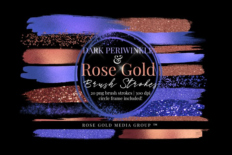 Dark Periwinkle Brush Strokes, Purple and Rose Gold Brush
