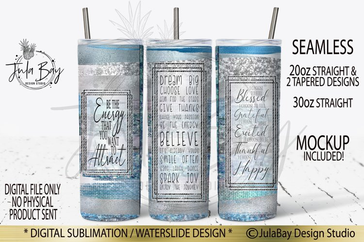 20oz Skinny Tumbler PNG Sublimation Design Law of Attraction example image 1
