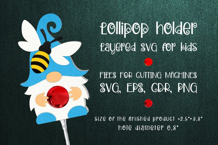 Gnome and Bee Lollipop Holder SVG