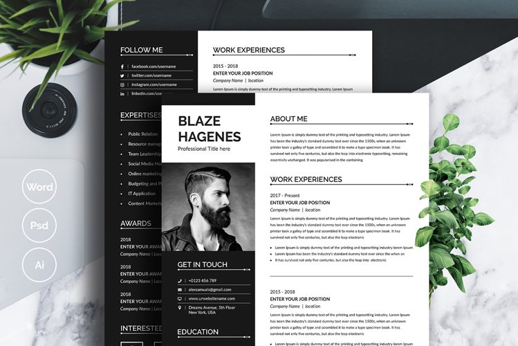 Black and White Resume and Cover Letter example image 1