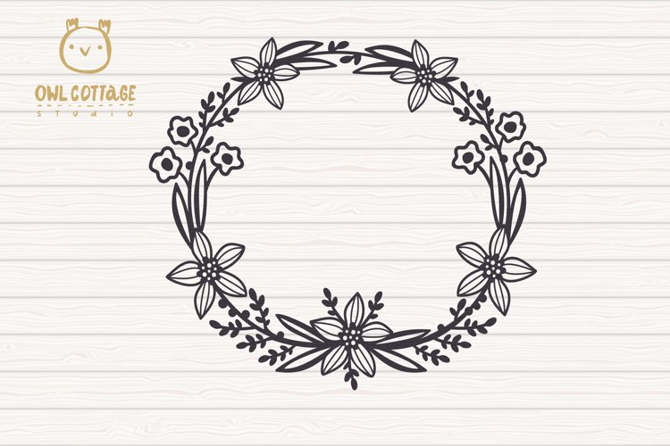 Easter Wreath with Hen svg, Easter Floral Monogram, Easter example 3