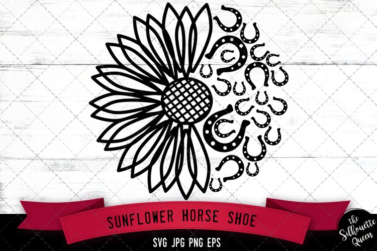 Sunflower Horse Shoe Svg Cut File example image 1
