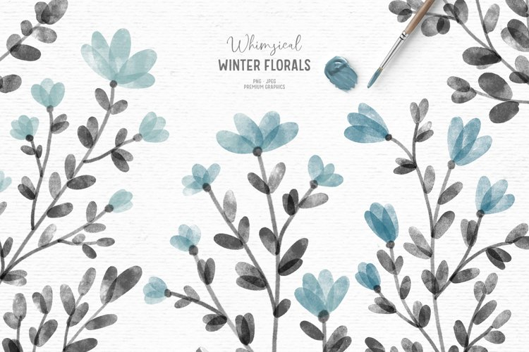 Blue watercolor floral clipart | Wildflower clipart