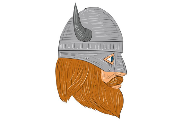 Viking Warrior Head Right Side View Drawing example image 1