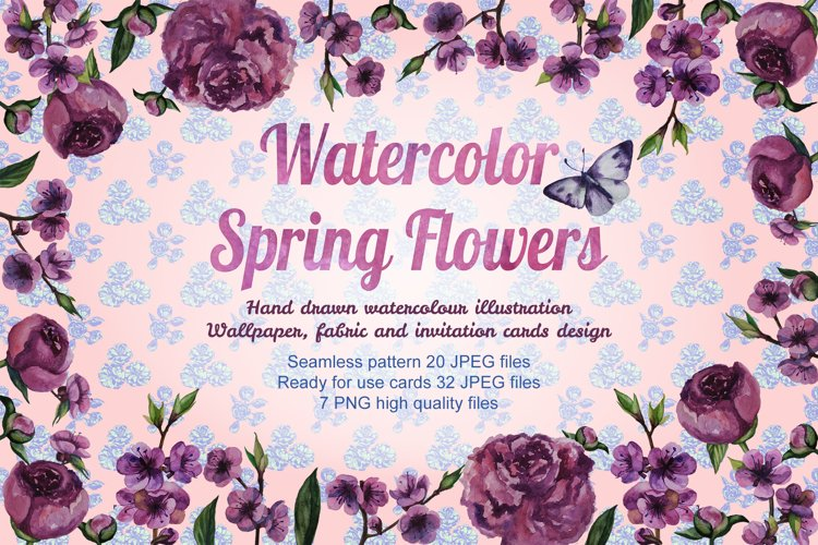 Spring flowers Hand drawn watercolor illustration example image 1