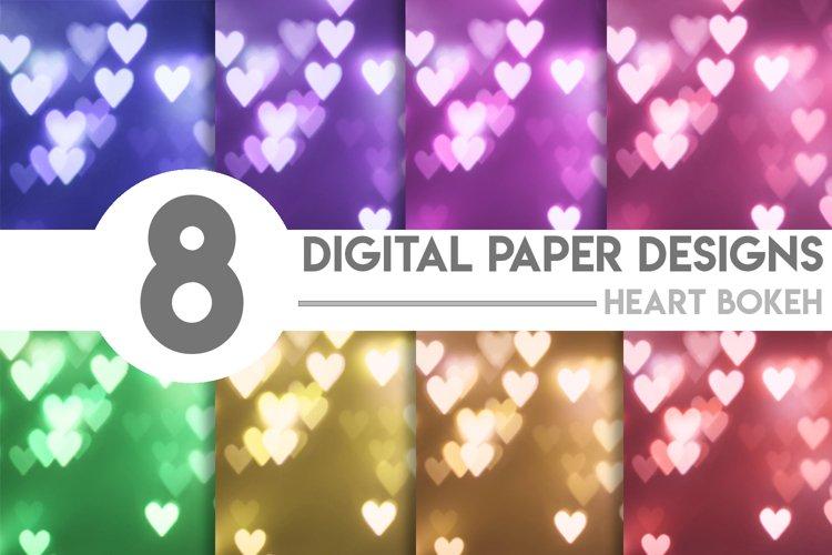 Valentines Heart Bokeh Digital Paper Bundle