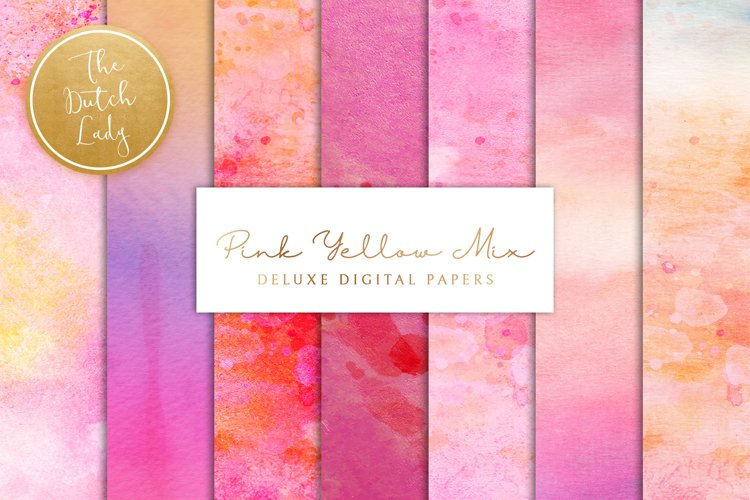 Digital Backgrounds & Papers - Pink Yellow Paint Mix