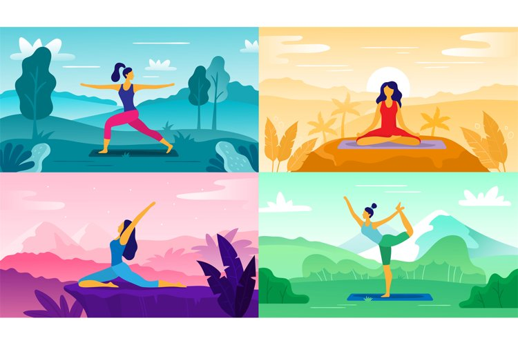 Yoga exercise on nature. Relax outdoors exercises, healthcar example image 1