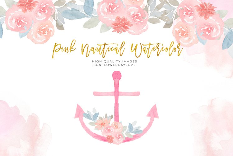 Gold and Pink Nautical Clipart, Anchor clip art