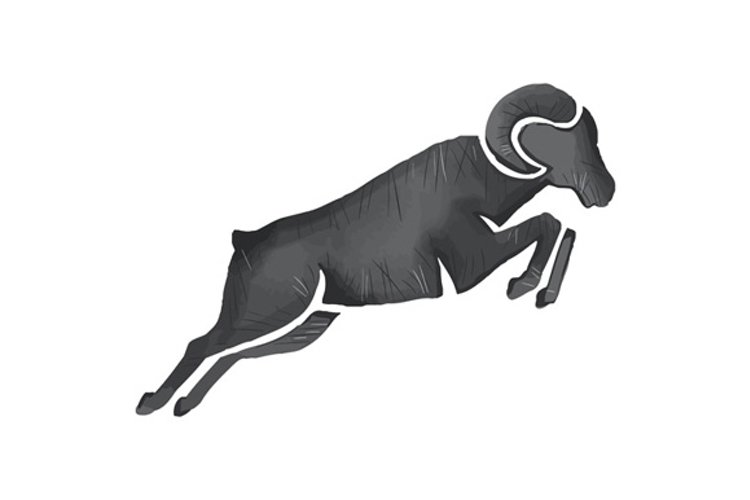 Ram Goat Silhouette Jumping Watercolor example image 1