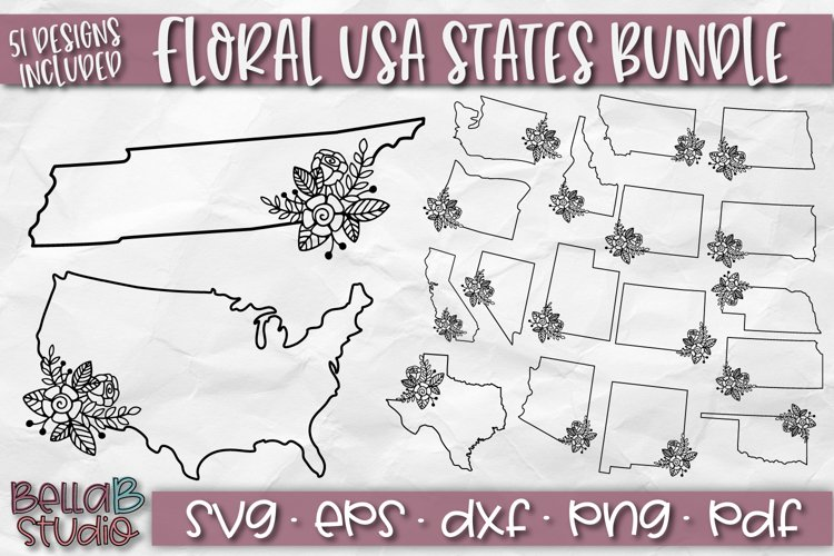 USA States SVG Bundle, Floral USA States, Flower, USA Bundle